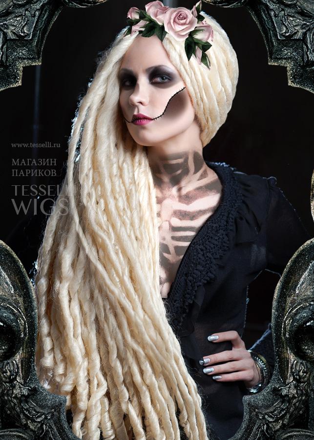 парик карнавальный: длинный, блондин