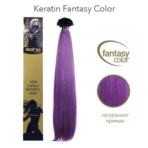 Прямые волосы Remy на кератиновой капсуле цветные пряди